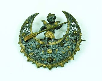 Antique French Brooch of Angel Rowing on the Moon