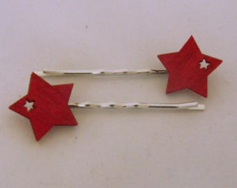 Wooden Star Hairslides