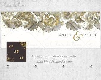 Faux Gold Foil and Watercolor Roses: Facebook cover and Profile picture with Faux Gold Foil,Wedding Announcement,Save the Date,FB Header