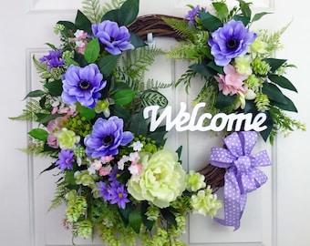 Purple Wreaths Spring Wreaths for Font Door Decorations Summer Door Wreaths Summer Wreaths for Front Door Wreaths Year Round Wreaths