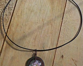 Vintage Abalone Button Pendant Necklace
