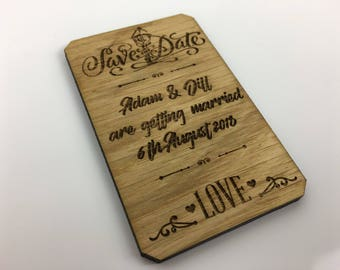 Rustic Save the Date Wooden Fridge Magnet, Personalised and made from Beautiful British Oak (Hand Finished).