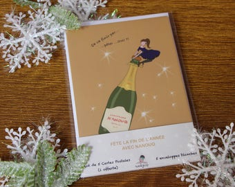 Gift Christmas-set of 5 postcards (1 available) - happy Nanouq Fete-fete-illustration-papeterie-happynewyear-merrychristmas-christmas