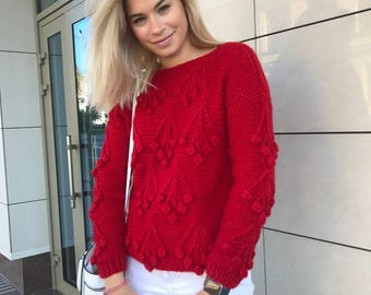 Women winter sweater Christmas gift knit boho pullover sweater hand knitted jumper warm red sweater cherry red clothing chunky cable sweater