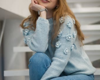 Blue knitted sweater flower women pullover chunky knit sweater sky blue clothing Christmas gift warm floral design wear winter boho sweater