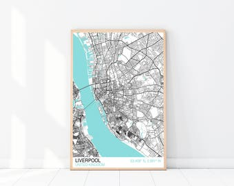Liverpool Map Print, City Map Print, Street Map, Map Wall Art, City Map Poster, Liverpool UK Map Print, Street Map