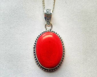Red Coral Necklace Red Coral Pendant Red Coral Crystal Statement Necklace Precious Coral