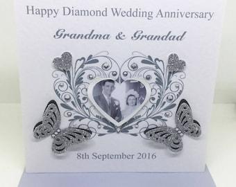 Personalised Handmade Diamond Wedding Anniversary Photo Card - 60 years