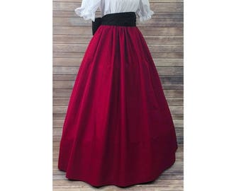 Skirt and Sash - Renaissance Civil War Victorian Southern Belle LARP Cosplay Dickensonian Pioneer - black red - dress costume