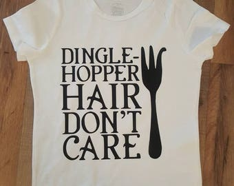 Girls dingle-hopper hair dont care tee shirt