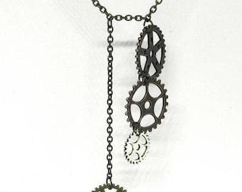 Asymmetrical Gear Necklace| Steam Punk Jewelry| Multi Metal Necklace| Gear Jewelry| Edgy Jewelry| Heavy Metal Jewelry| Hardware Jewelry