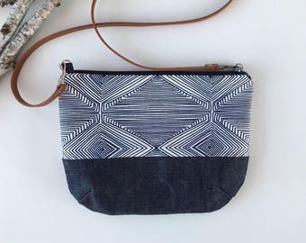 Blue Geometric Print & Denim, Crossbody Bag, Crossbody Purse, Small handmade purse