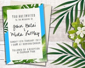 Personalised Destination Wedding Invitation | Tropical Print Wedding Invitations | Beach Wedding Invites | Custom Wedding Invitations