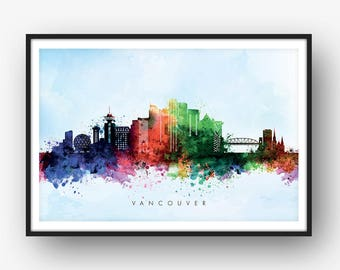 Vancouver Skyline, Vancouver Canada Cityscape, Art Print, Wall Art, Watercolor, Watercolour Art Decor [SWYVR03]