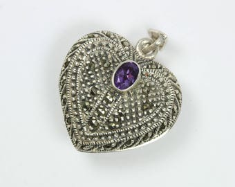 A Small Vintage Style Sterling Silver Amethyst Gemstone Heart Marcasite Locket