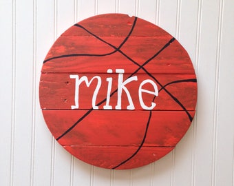 Basketball Wood Name Sign / Sports Theme Wall Hanging / Baby Nursery / Child's Bedroom / Reclaimed Wood / Rustic Look / Hand Painted /Custom