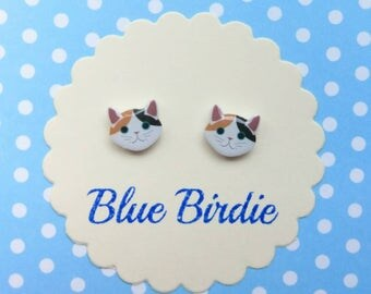 Tiny cat earrings cat jewellery cat jewelry cat stud earrings small cat earrings cute cat jewellery cat lover gifts black cat studs