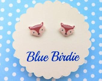 Fox earrings fox jewellery fox jewelry tiny fox stud earrings small fox face earrings cute fox jewellery fox earrings fox gift