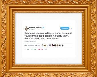 Dwayne Johnson The Rock Framed Tweet — Raise The Bar [The Rock Poster, The Rock Wall Art, The Rock Decor, Dwayne Johnson Art]