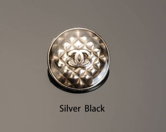 "Retro Buttons Silver Black Transparent  Custom Metal Famous Brand Bead Luxury Sewing DIY 0.59""-0.87""(15mm-22mm)- c106"