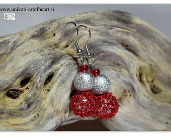 Crochet Wire Earrings / Wire Jewelry / Wire Earrings / Red Earring / Dangle Earring / Inspiration Earring / Simple Earring / Awesome Earring