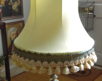 Vintage pale yellow satin fringed and tasselled table or standard lampshade