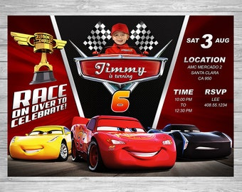 Disney Cars 3 Birthday Invitation, Cars 3 Party Invite, Disney Cars 3 Printable Invite, Cars 3 Birthday Party, Lightning McQueen Printable