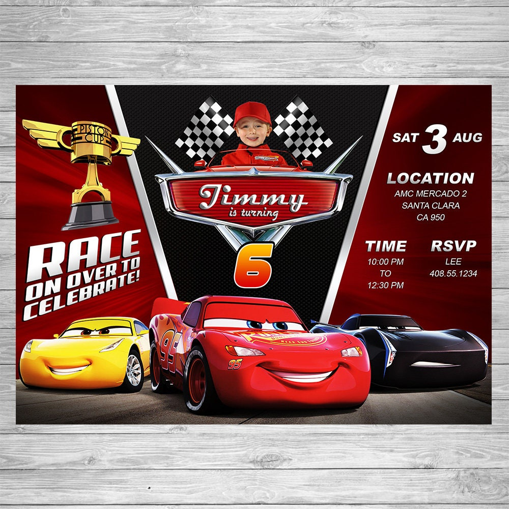 Disney Cars Birthday Invitation Cars Party Invite Lightning – Disney Cars Birthday Invites