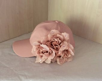 Baseball cap pink with flowers