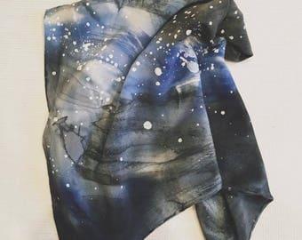 Black and blue nebula inspired starry sky hand dyed silk neck scarf