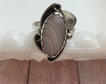 Navajo Agate Ring   Botswana  Silver Plated   Vintage