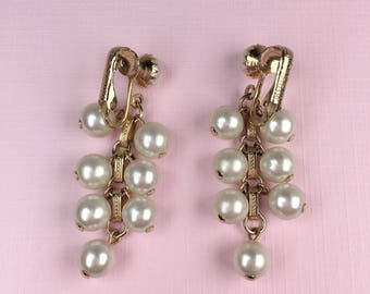Sarah Coventry Pearl Dangle Earrings | Clip On | 1970s Vintage