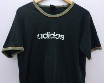 Vintage Adidas Shirt Big Spell Out Ringer Sportswear Street Wear Round Neck Top Tee T-Shirt Size L