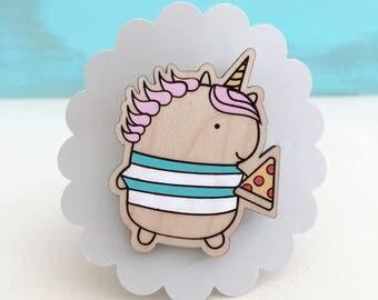 Wood Unicorn Pizza Pin