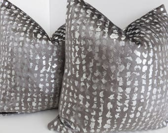 P/Kaufmann Fabrics- Grey Metallic Silver Pillow Cover- Grey Velvet Pillow Cover- Grey Metallic Velvet Pillows- Grey Pillow Cover