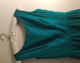 50s brocade blue green party dress