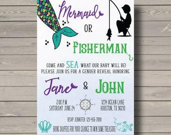 Mermaid or Fisherman Gender Reveal Invitation, Mermaid, Fisherman, Under the sea, Nautical Gender Reveal