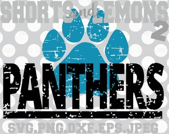 Panthers svg, Panthers cricut file, panther Cut File, iron on, panthers, Distressed paw svg, Silhouette, Printable, Digital Download, Cricut
