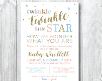 Twinkle Twinkle Little Star Gender Reveal Invitation - Blue, Pink and Gold - Gender Reveal Invitation - Customized - Printable - Baby Shower