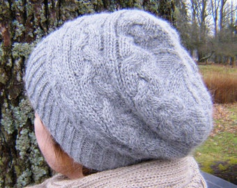 Hat, alpaca wool, Cable knit hat, Womens hat, romantic hat, Gift for her  Valentines day gift