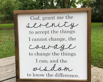 "Serenity Prayer | BEST SELLER | God Grant Me | Wisdom and Courage | Strength Prayer | Farmhouse Decor | Courage Prayer | 10 x 10 (11""x11"")"