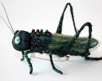 Spirit Grasshopper Brooch - OOAK Handmade Textile Brooch