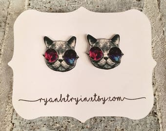 Galaxy Cat Stud Earrings - Cat Studs - Cat Head Earrings - Space Cat - Cat Lover Gift - Cats - Quirky Earrings - Space Kitty Earrings