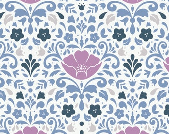 Ethereal Floral Damask in Orchid Metre Cotton Fabric by Camelot (UK)