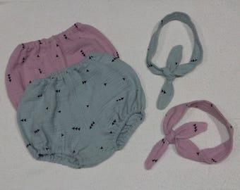 Bottom cubrepanal or shorts of cotton patterned arrows, handmade baby clothes