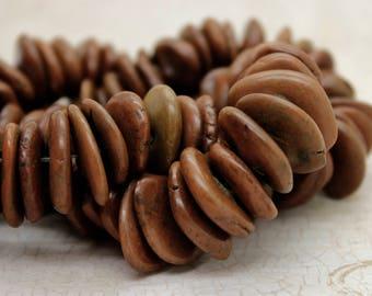 Jasper Beads, Rough Flat Nugget Chip Brwn Jasper Beads (Assorted Size)