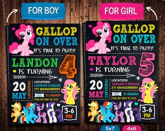 Little Pony Invitation, My Little, Pony Invite, Little Pony Birthday, Little Pony Party, Little Pony Printable, Little Pony Card