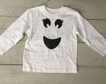 Happy Ghost Face/ Girl Ghost Shirt/ Ghost Onesie/ Infant-Adult/Halloween/Halloween Shirt