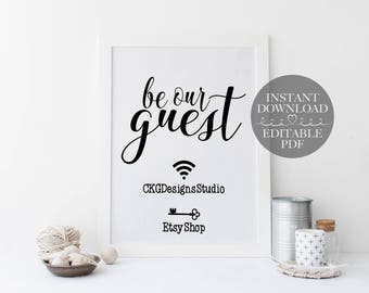 Wifi Password Sign Printable Instant Download, Wifi Sign Template, Wifi Network Editable PDF, Home Wifi Sign Editable PDF Instant Download