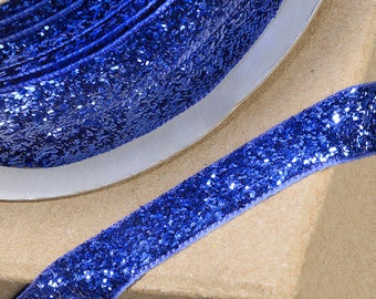 Gorgeous Blue Velvet Sparkle Glitter Ribbon 10mm Wide x 1 Metre  - Card Making Sewing Craft